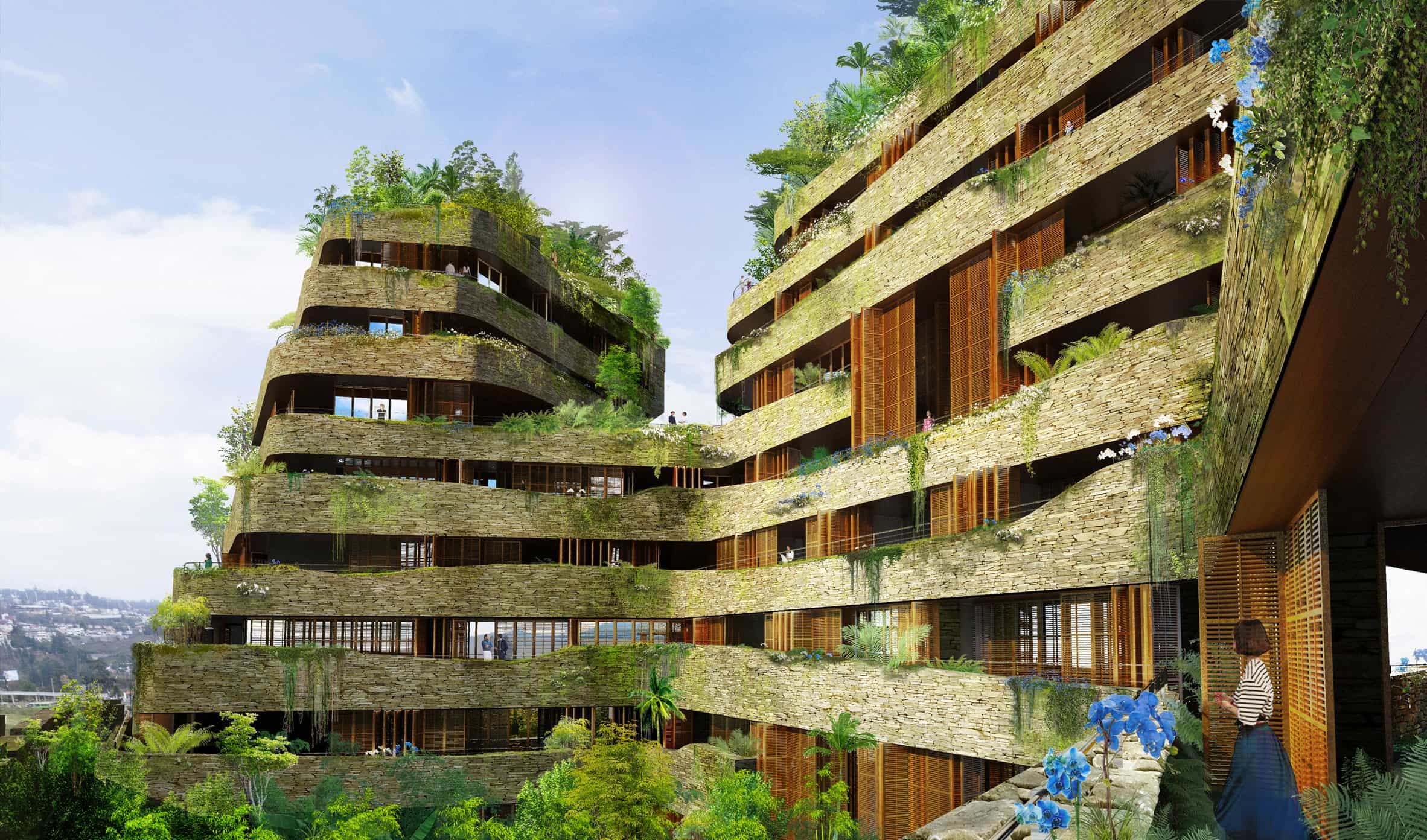 A computer rendered artist's impression of some resident's terraces at sustainable complex Aquarela in Ecuador
